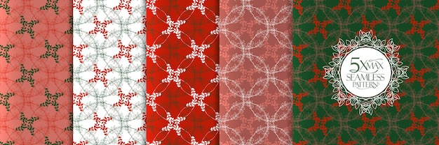 Christmas leaves pattern set,  seamless background with wreath circles and leaves