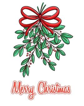 Рождественские листья с лентой и с использованием цветного стиля рисованной