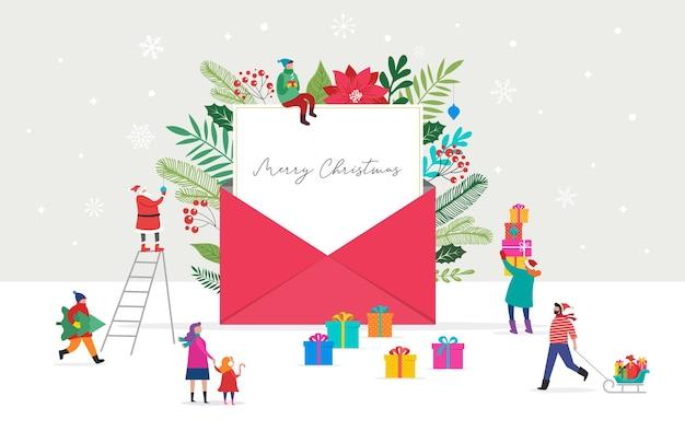 봉투에서 나오는 크리스마스 편지. 메시지 작성을위한 빈 백서입니다.