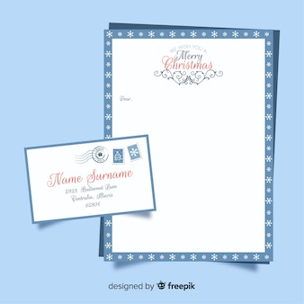 Lettera di natale in design piatto