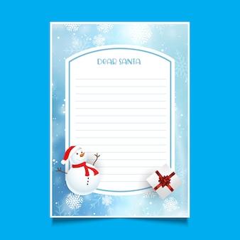 Lettera di natale a babbo natale con pupazzo di neve e regalo