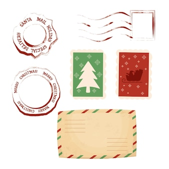 Christmas letter stamps ans postmark set with envelope in cartoon style