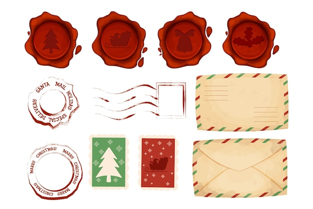 Christmas letter stamps ans postmark set with envelope wax seal in cartoon style