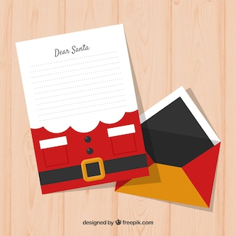 Christmas letter template decorated as santa's beard and costume