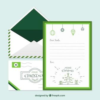 녹색 프레임에 크리스마스 편지 서식 파일