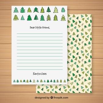 크리스마스 트리 패턴으로 크리스마스 편지 서식 파일