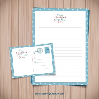 Christmas letter template with a blue frame