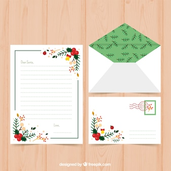 Christmas letter template with christmas decorations