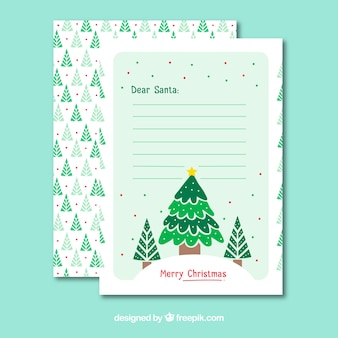Christmas letter template with christmas tree