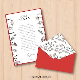 赤い封筒とクリスマスのレターテンプレート