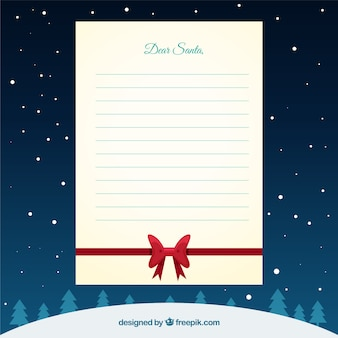 Christmas letter template with ribbon