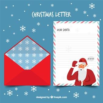 クリスマスレターテンプレート、サンタクロースと赤い封筒