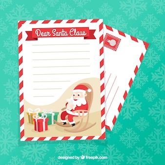 Christmas letter template with santa