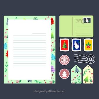 Modello di lettera di natale con un set di francobolli e tag