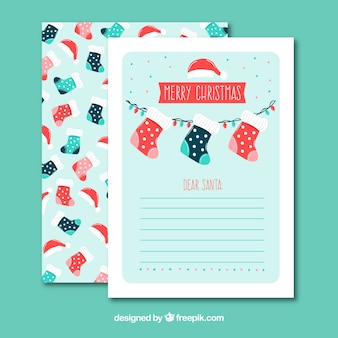 Christmas letter template with socks