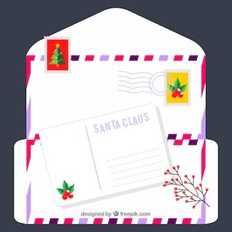 Modello di lettera di natale con francobolli