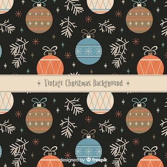 Christmas letter vintage balls pattern