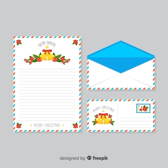 Christmas letter with envelope with bells