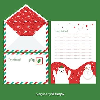 Рождественское письмо с конвертом