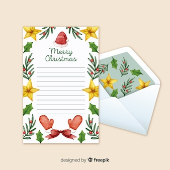 Christmas letter with floral envelope