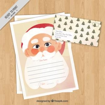 수채화 스타일에서 산타 클로스와 크리스마스 편지