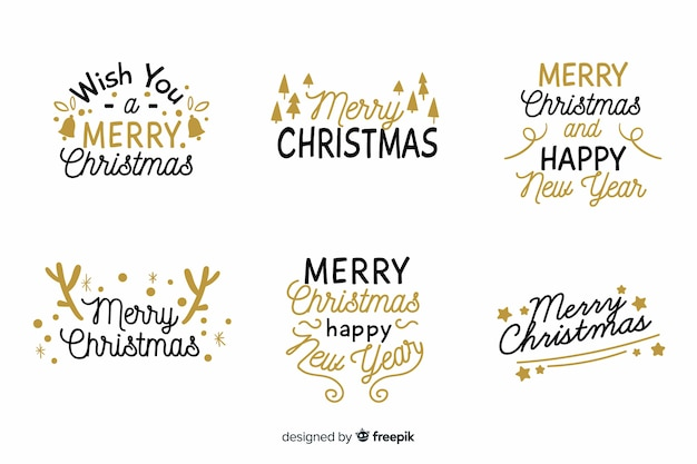 Christmas lettering badge collection