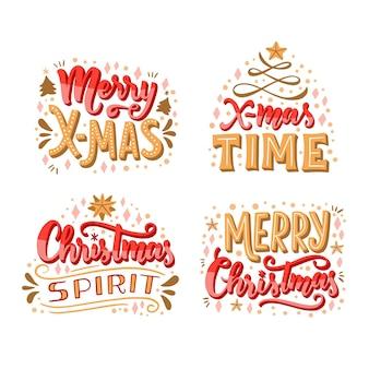 クリスマスレタリングバッジコレクション