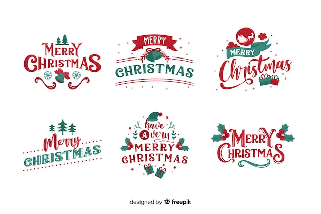 Christmas lettering badge on white background