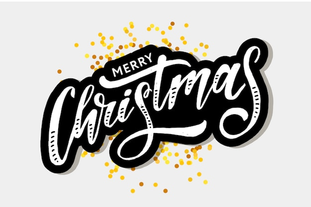 Christmas lettering calligraphy brush text holiday sticker gold