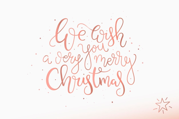 Christmas lettering card hand drawn design on white background  merry christmas quote wish print