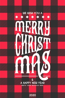 Christmas lettering card with black and red tartan pattern