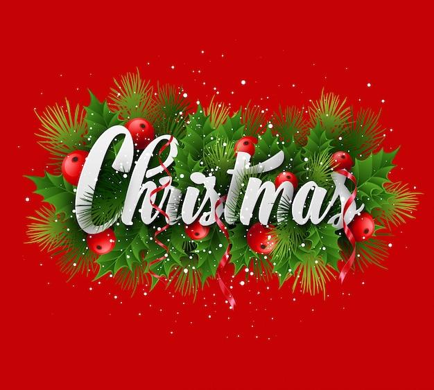Рождественская открытка с надписью «холли и ель», открытка