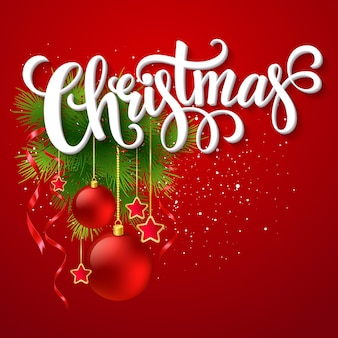 ヒイラギとモミの木の枝とクリスマスのレタリングカード。ベクターイラストeps10