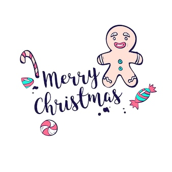 Christmas lettering greeting with candy cane and gingerbread man