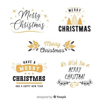 Рождественская коллекция этикеток надписи