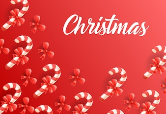 Christmas lettering on background with candy canes pattern