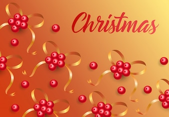 Christmas lettering on background with mistletoe berries