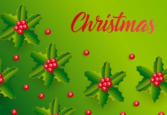 Christmas lettering on green background with mistletoe pattern
