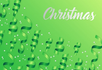 Christmas lettering on green background with streamers