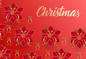 Christmas lettering on red background with poinsettia flowers