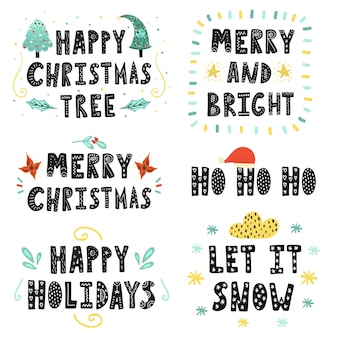 Christmas lettering set. hand drawn quotes collection