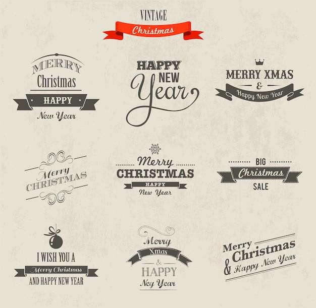 Рождественский набор надписи. с новым годом и рождеством