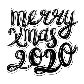 Christmas lettering in vintage style on white.