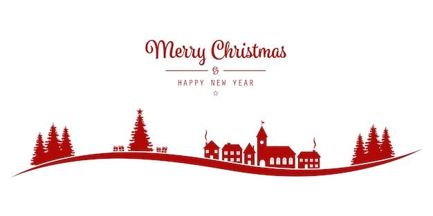 크리스마스 글자 겨울 풍경 마을 레드