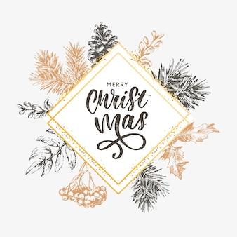 Christmas lettering  with branches of christmas tree.
