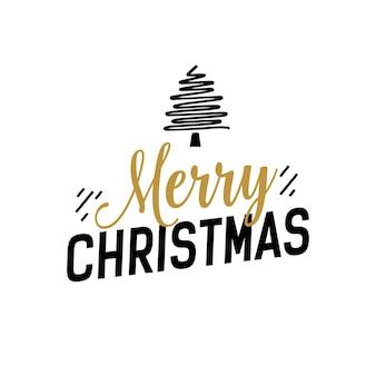 Рождественская надпись с креативным деревом