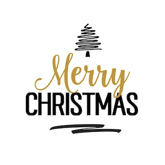 Christmas lettering with creative tree