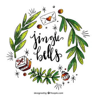 Christmas lettering with floral decoration
