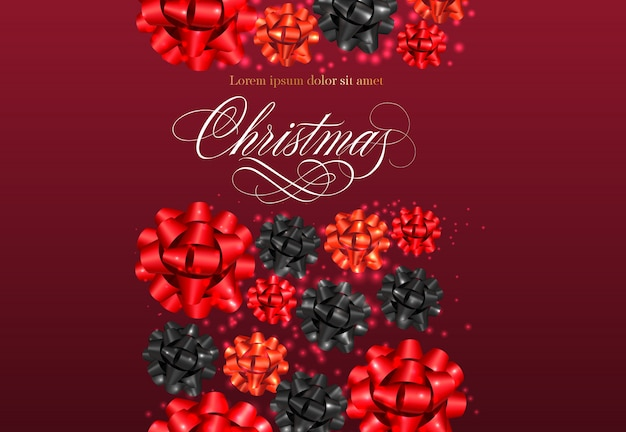 Christmas lettering with ribbon bows pattern