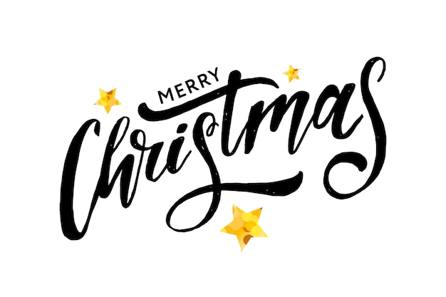Christmas lettering with stars